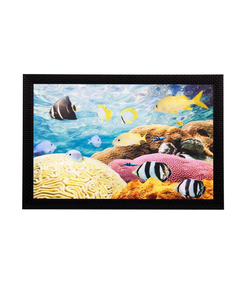 eCraftIndia Underwater Sealife View Matt Textured Framed UV Art Print