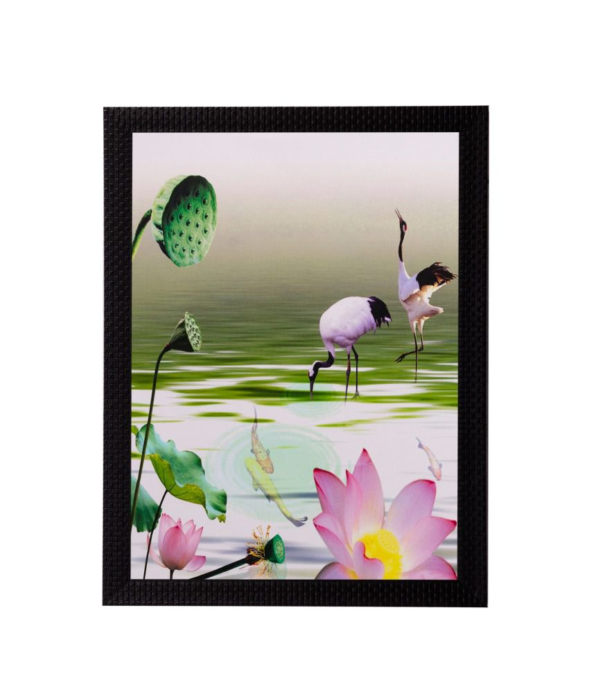 eCraftIndia Water Side Floral View Matt Textured Framed UV Art Print