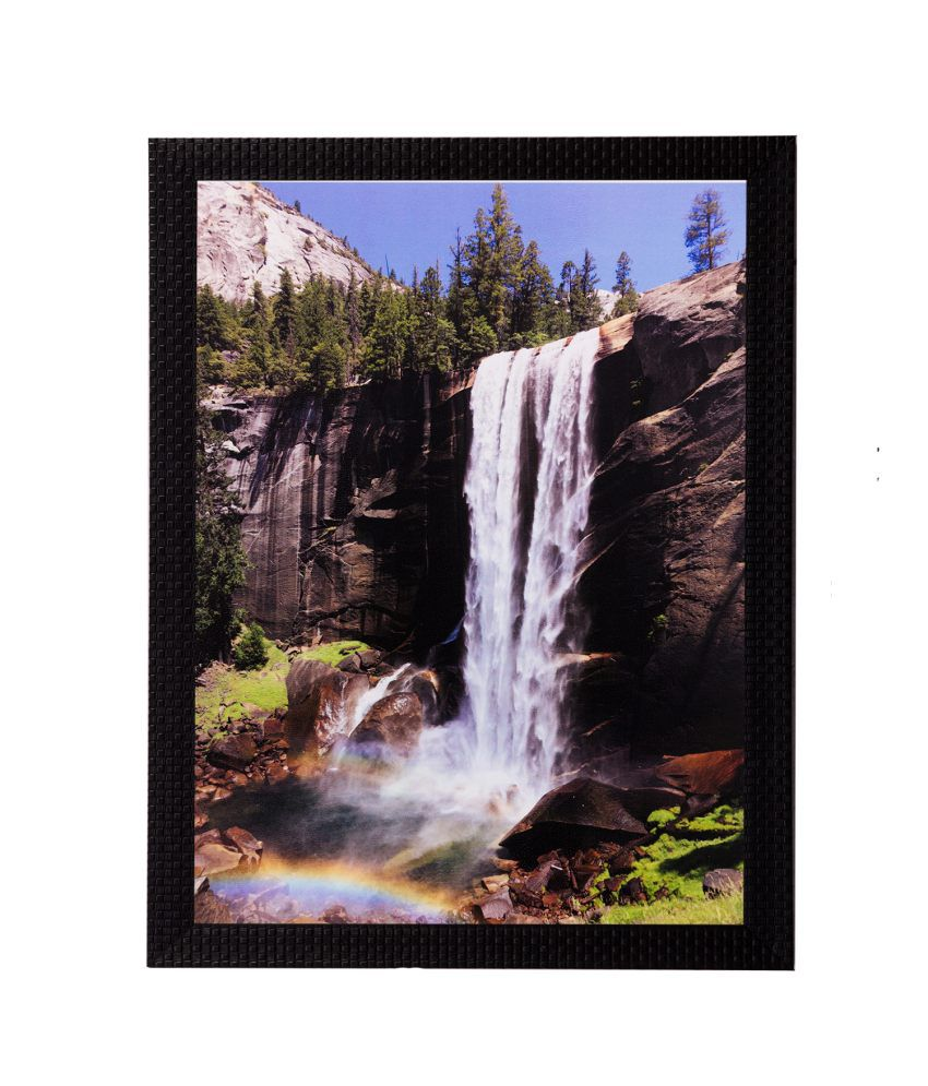 eCraftIndia Waterfall View Matt Textured Framed UV Art Print