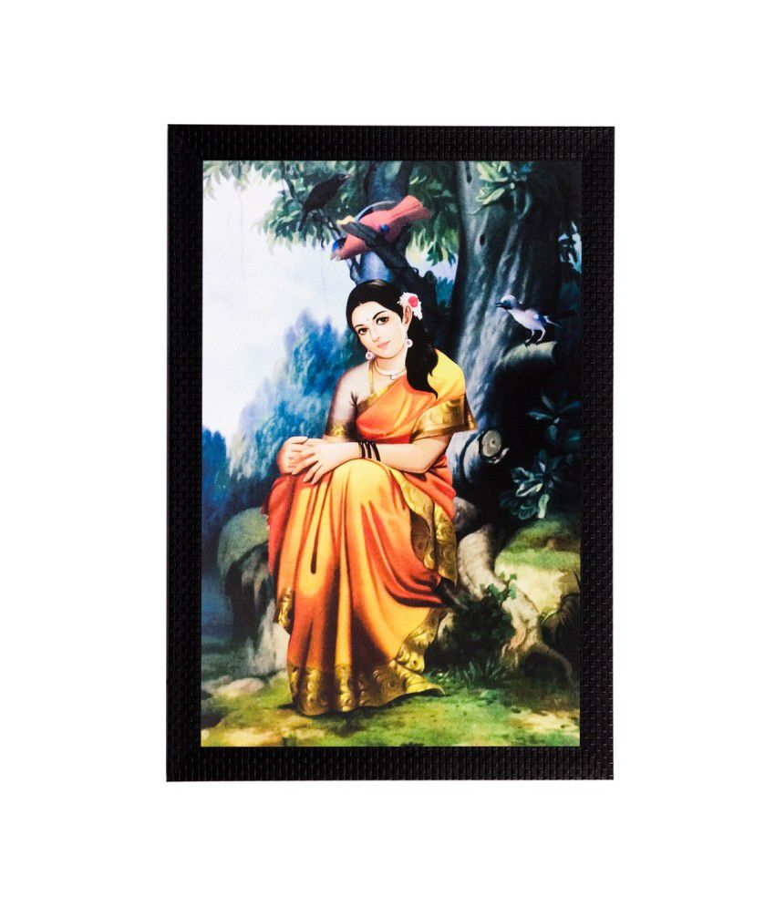 eCraftIndia Woman In A Thought Matt Textured Framed UV Art Print