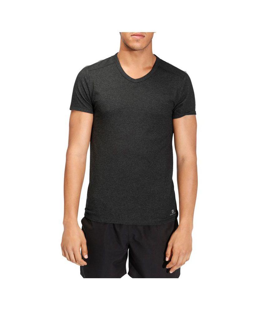 DOMYOS Slim V Neck Men's Fitness T-Shirt By Decathlon