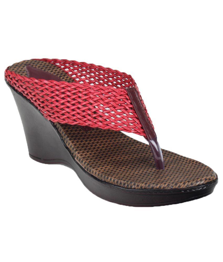 Remson India Red Wedges Heels