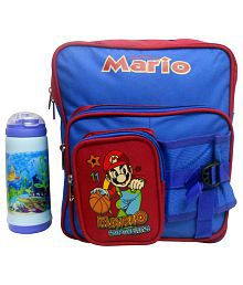 RSC Combo Of Blue And Red Polyester School Bag And Water Bottle