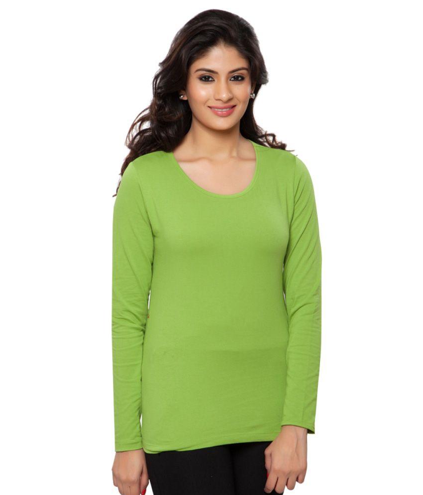 Clifton Green Plain Full Sleeves Tees for Women