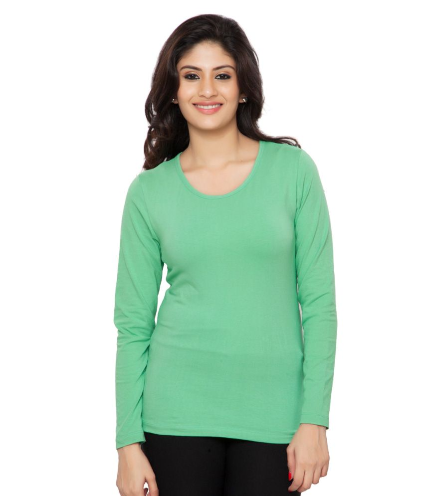 Clifton Green Plain Full Sleeves Tees for Women