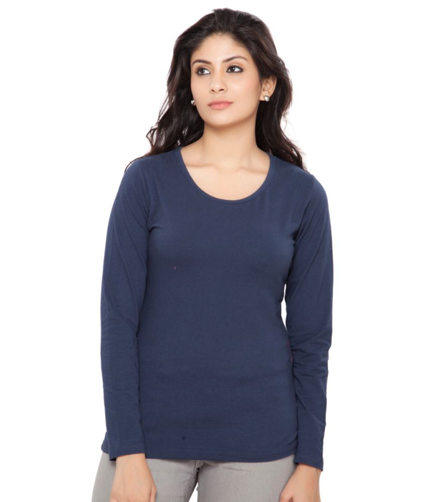 Clifton Navy Full Sleeves Tees for Women