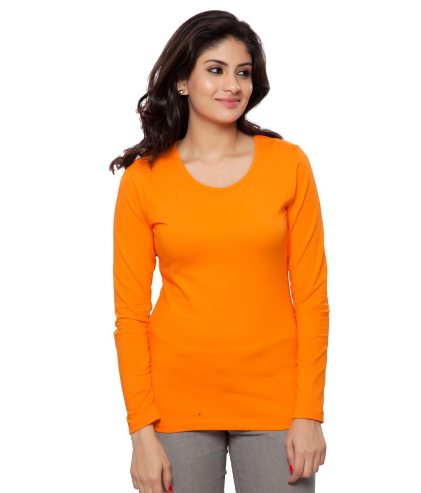 Clifton Orange Plain Full Sleeves Tees for Women