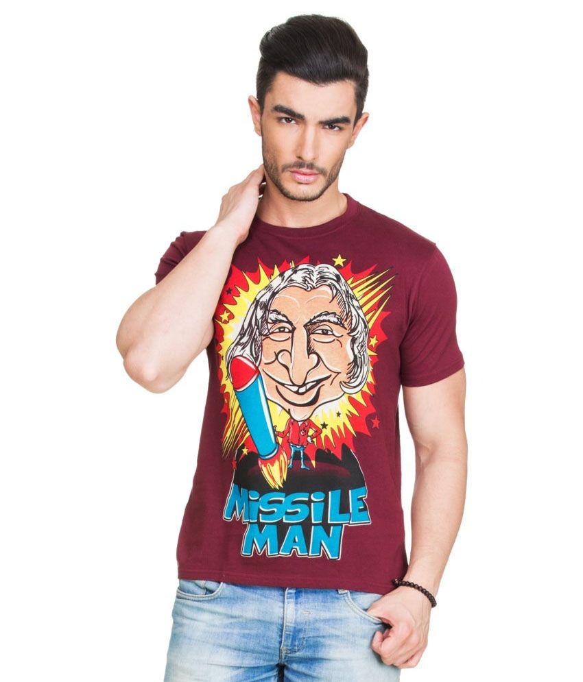 Zovi Maroon Round T Shirts