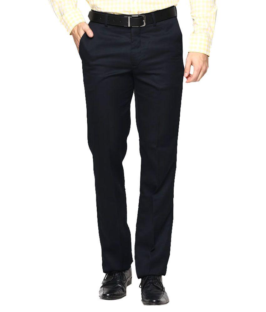 AD & AV Navy Regular Fit Flat Trousers