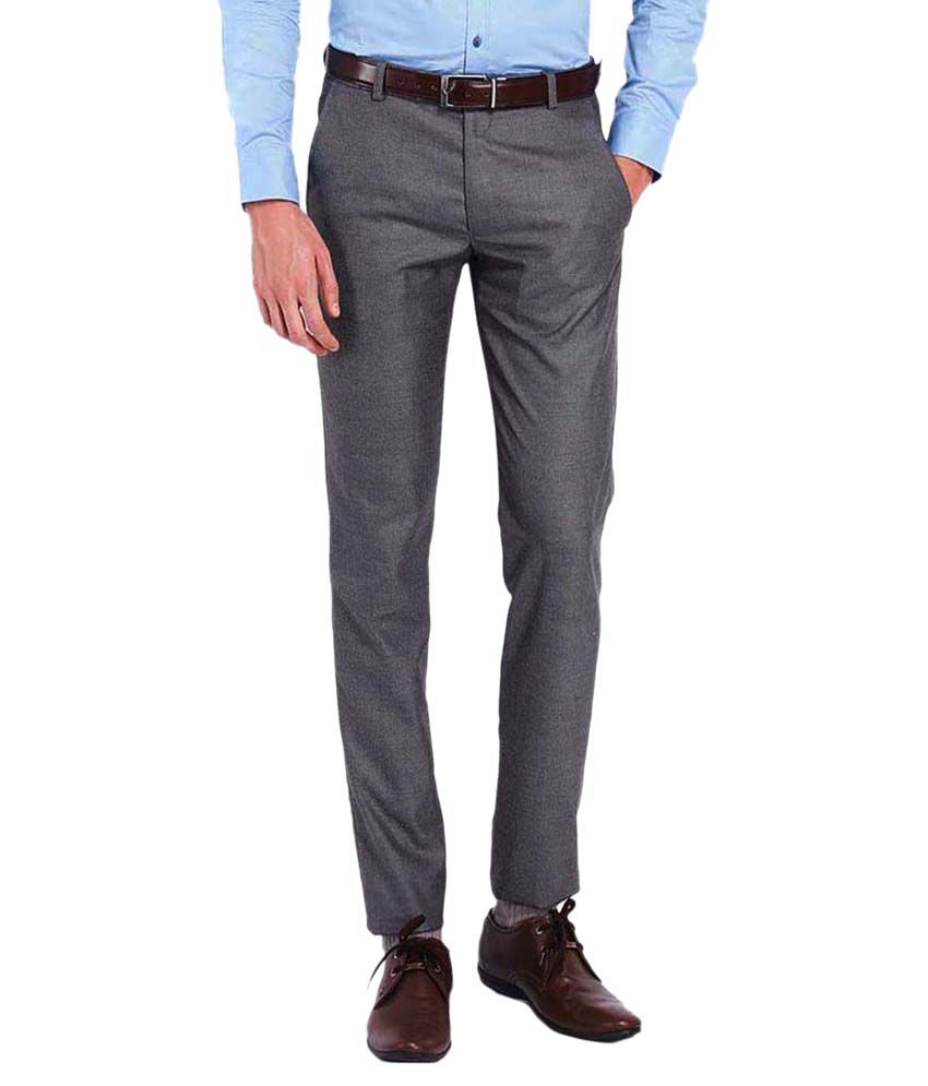 AD & AV Grey Regular Fit Flat Trousers