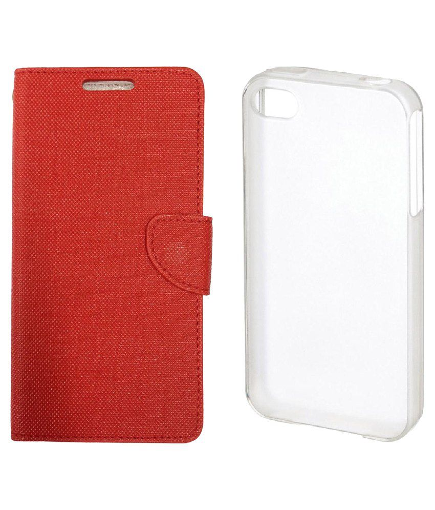 sale retailer a44ee 21f97 Colorcase Flip Cover Case for Reliance Jio Lyf Earth 1 - Red with ...