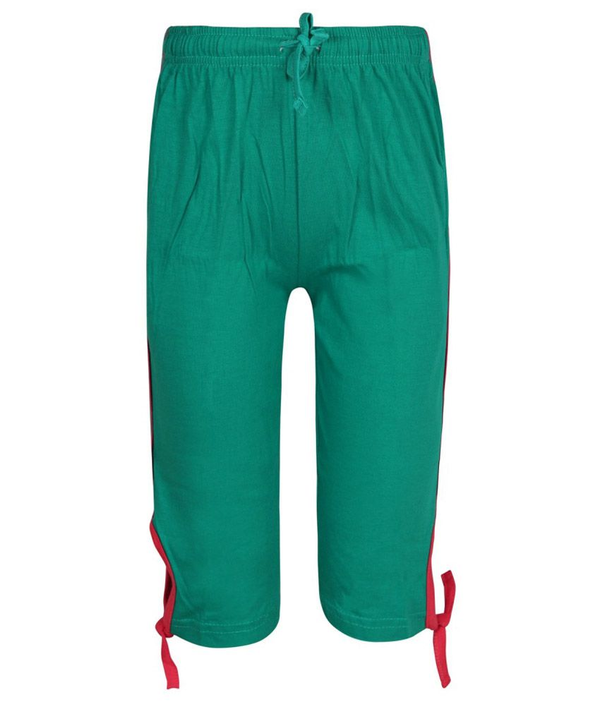 Jazzup Green Cotton Capri for Girls