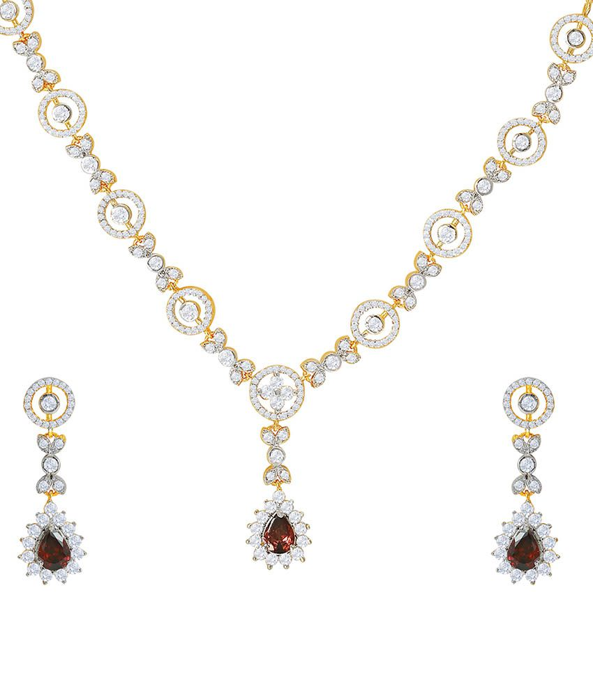 Mahi Gold Alloy CZ Necklace Set