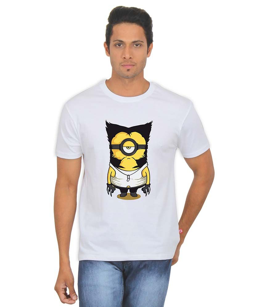 FanIdeaz Wolverine Minion White Silky Polyester T Shirt for Men