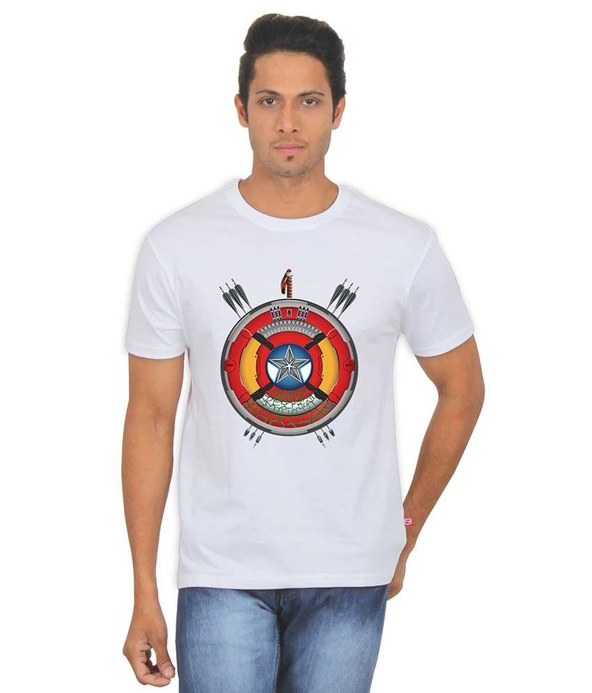 FanIdeaz Avengers Sheild White Silky Polyester T Shirt for Men