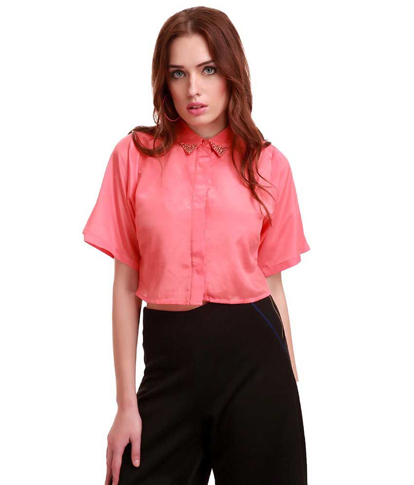 Buy Sassafras Beaded Collar Cropped Coral Shirt Online At