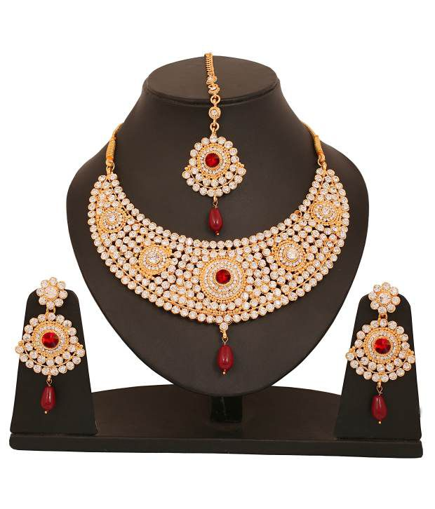 Touchstone White Necklace Set with Maang Tikka
