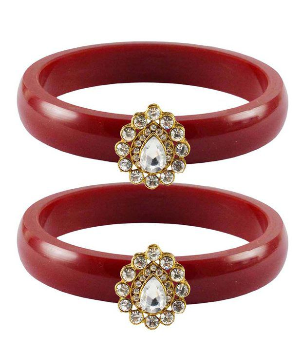 Vidhya Kangan Red Brass and Copper Bangle Set Pack of 2