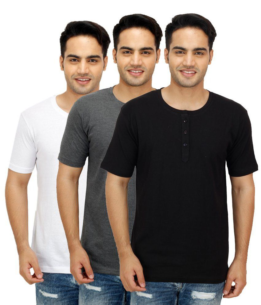 Christy's Collection Multi Henley T Shirts Pack of 3