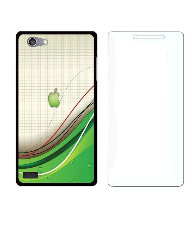 Treecase Silicon Soft Printed Back Cover For Oppo Neo 7 With Tempered Glass - Multicolor
