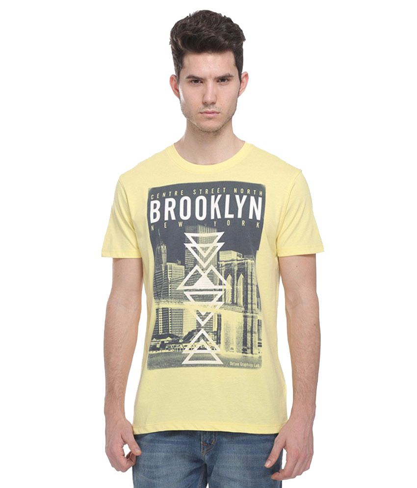 Octave Yellow Round T Shirts