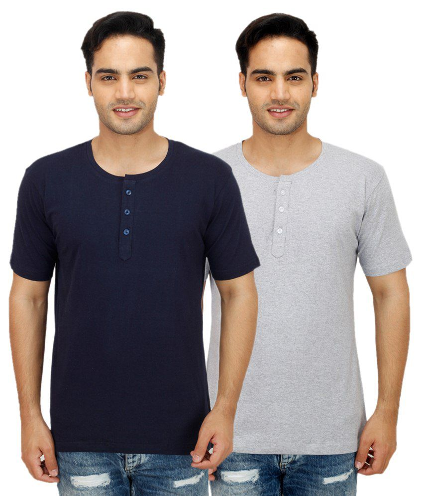 Rakshita's Collection Multi Henley T Shirts Pack of 2