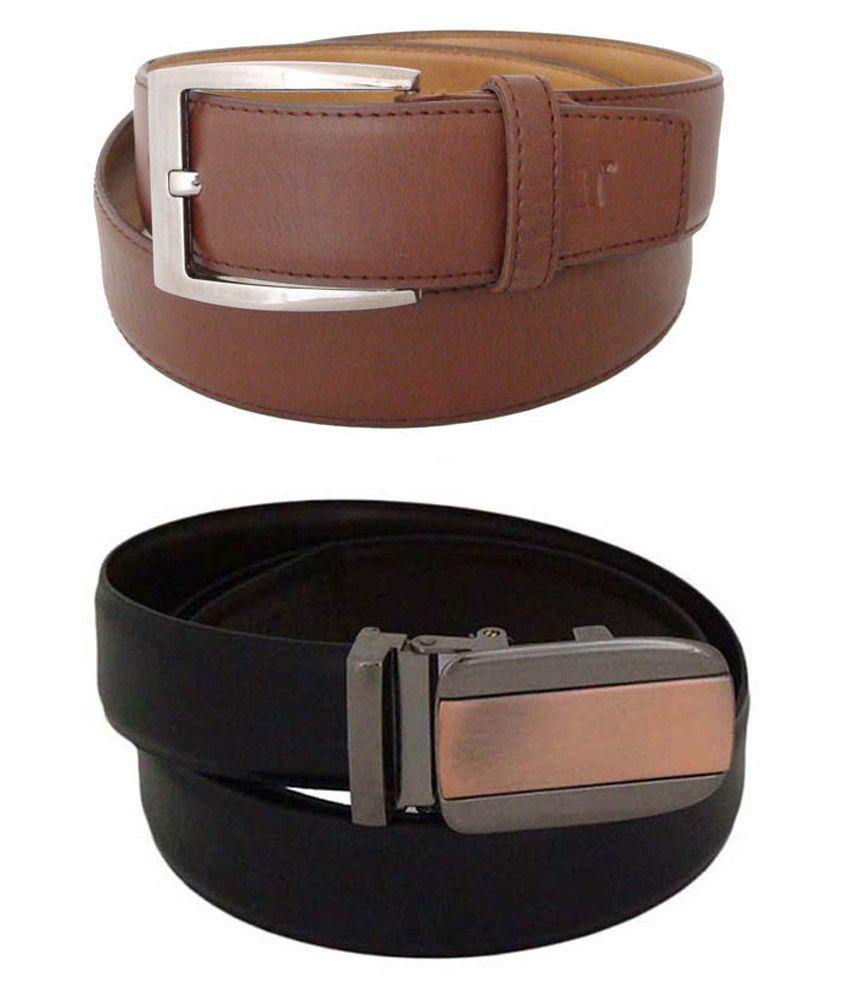 SFA Black And Brown Formal Belt For Men - Set Of 2