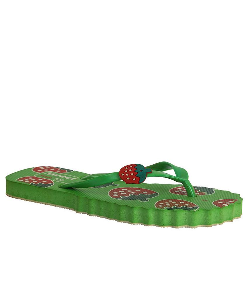 Ve Sweet Green Slippers & Flip Flops