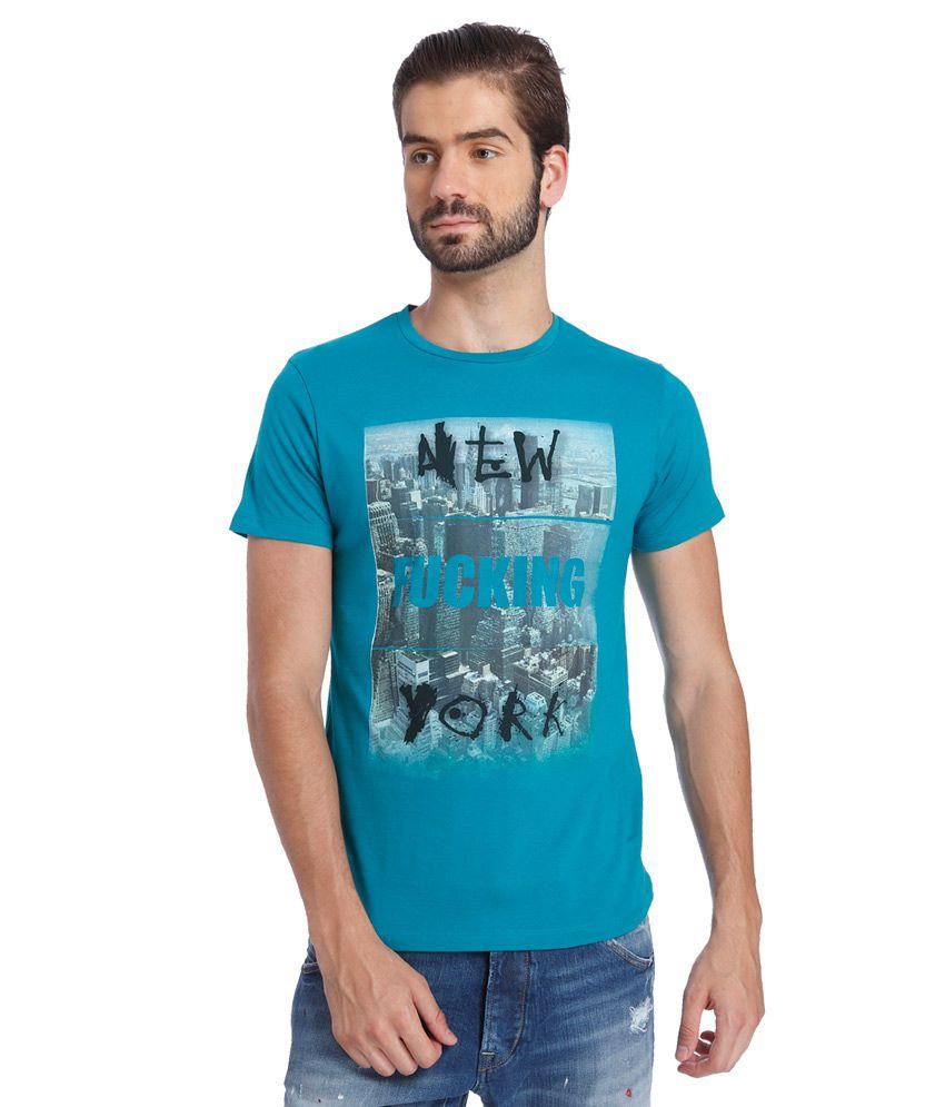 Jack & Jones Blue Round Neck T Shirt
