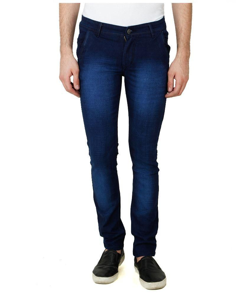Pazel Blue Slim Fit Faded Jeans