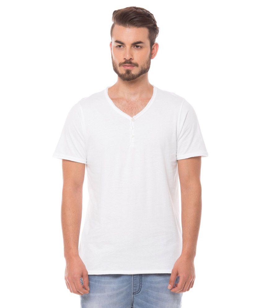 Shuffle White Henley T Shirts