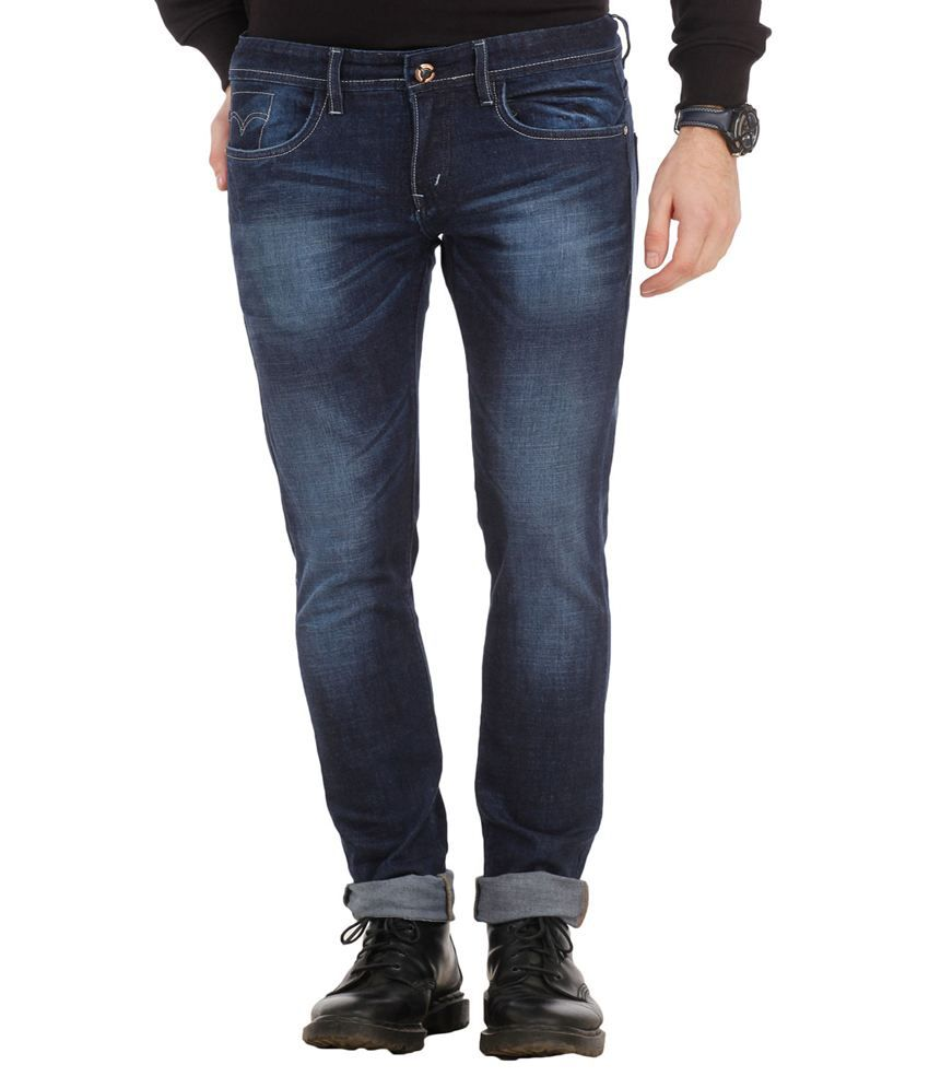 Spawn Blue Slim Fit Faded Jeans