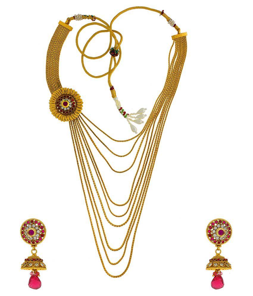 Anuradha Art Gold Alloy Necklace Set
