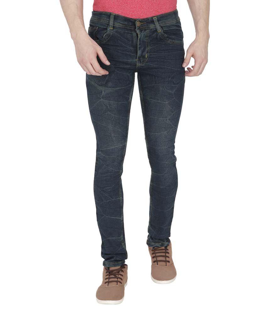 Black City Blue Slim Fit Distressed Jeans