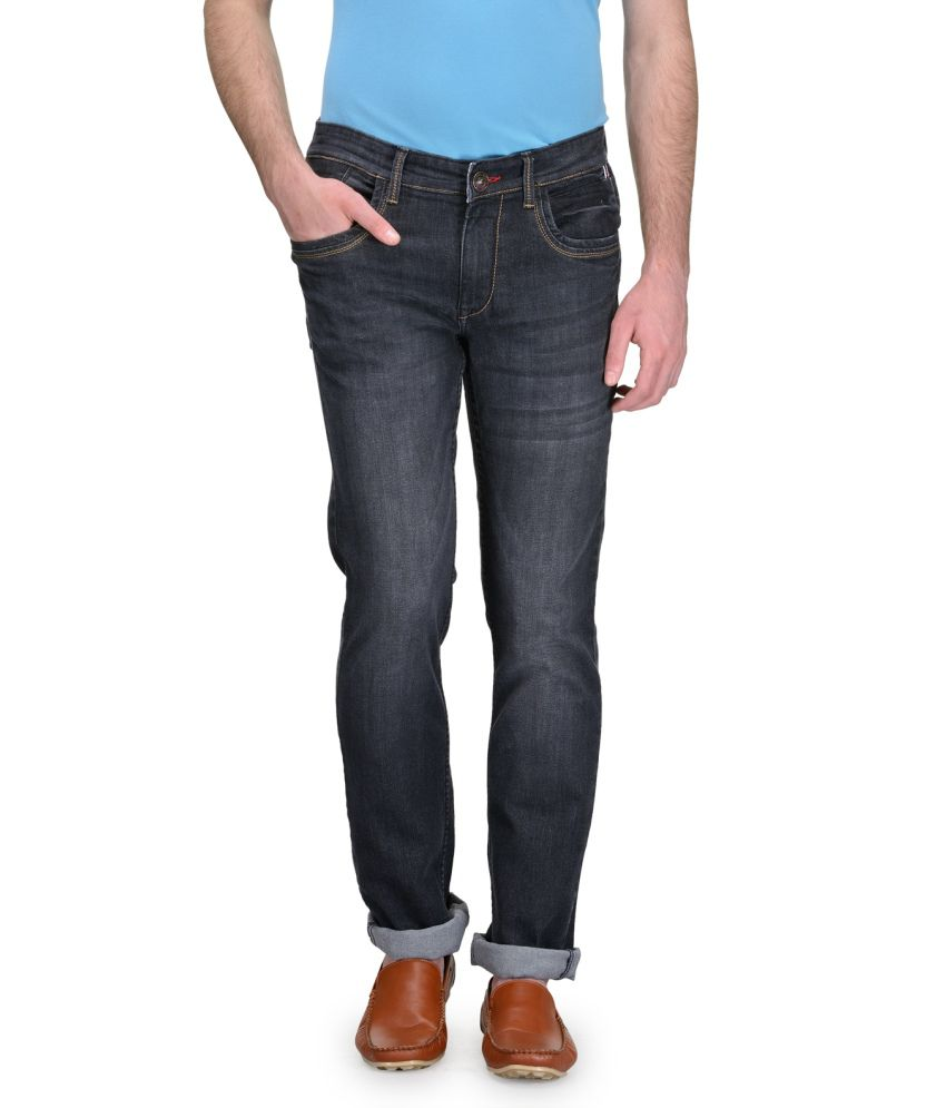 Canary London Black Slim Fit Faded Jeans