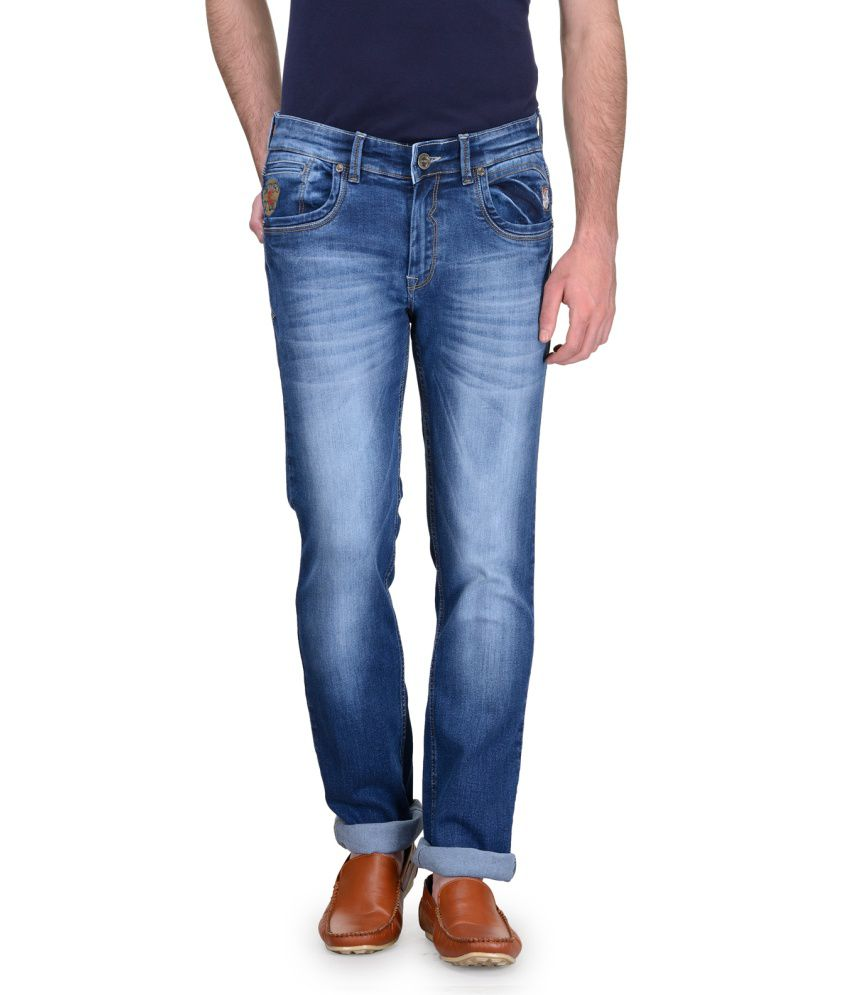 Canary London Blue Slim Fit Faded Jeans