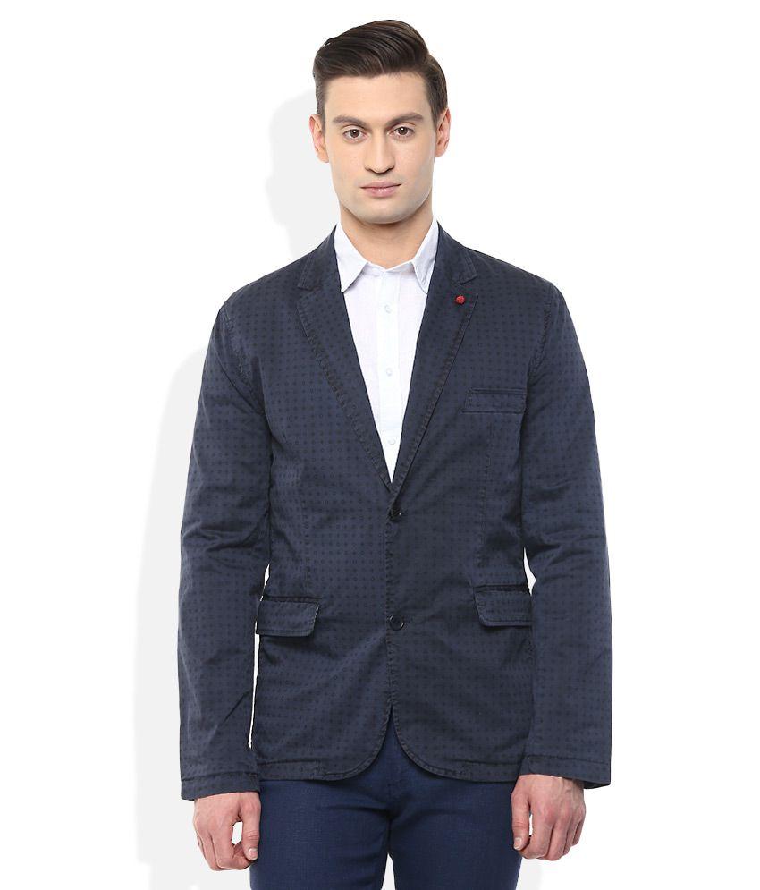 Celio Blue Printed Blazer