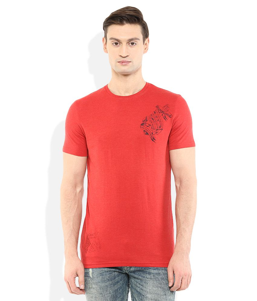 Celio Red Round Neck T Shirt