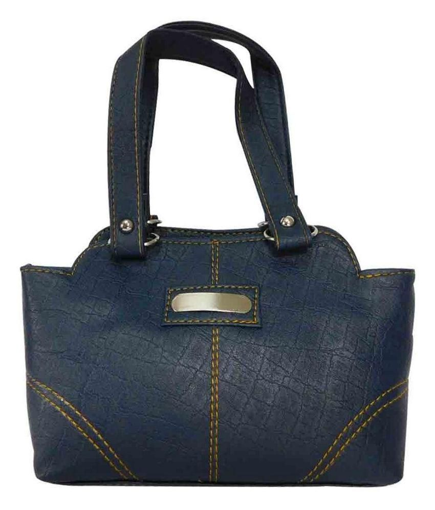 Laviva Navy Faux Leather Shoulder Bag
