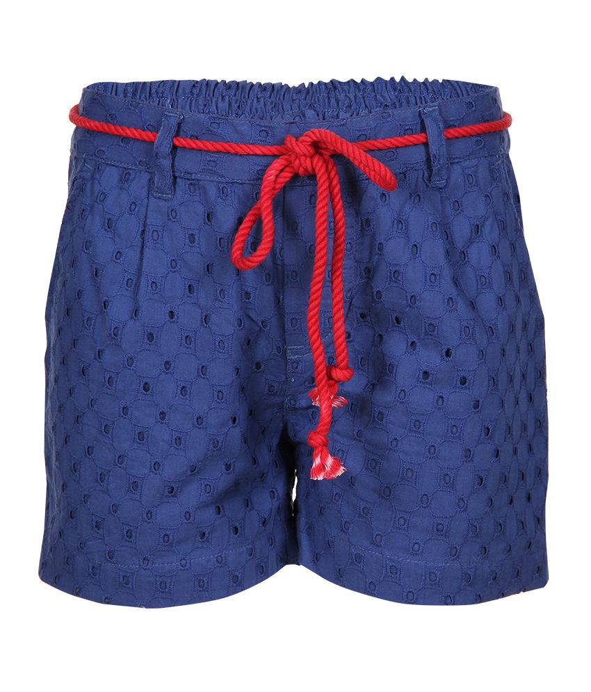 Miss Alibi Navy Cotton Shorts For Girls