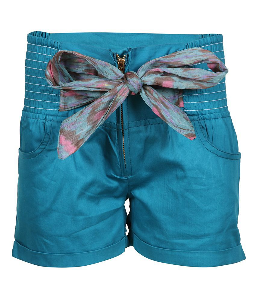 Miss Alibi Turquoise Cotton Shorts For Girls