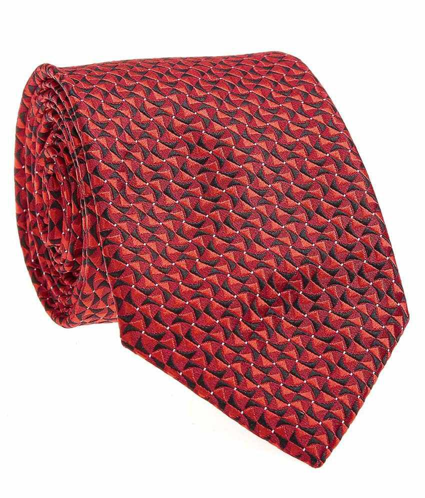 Sir Michele Red Micro Fiber Narrow Tie for Men with Pocketsquare and Cufflink