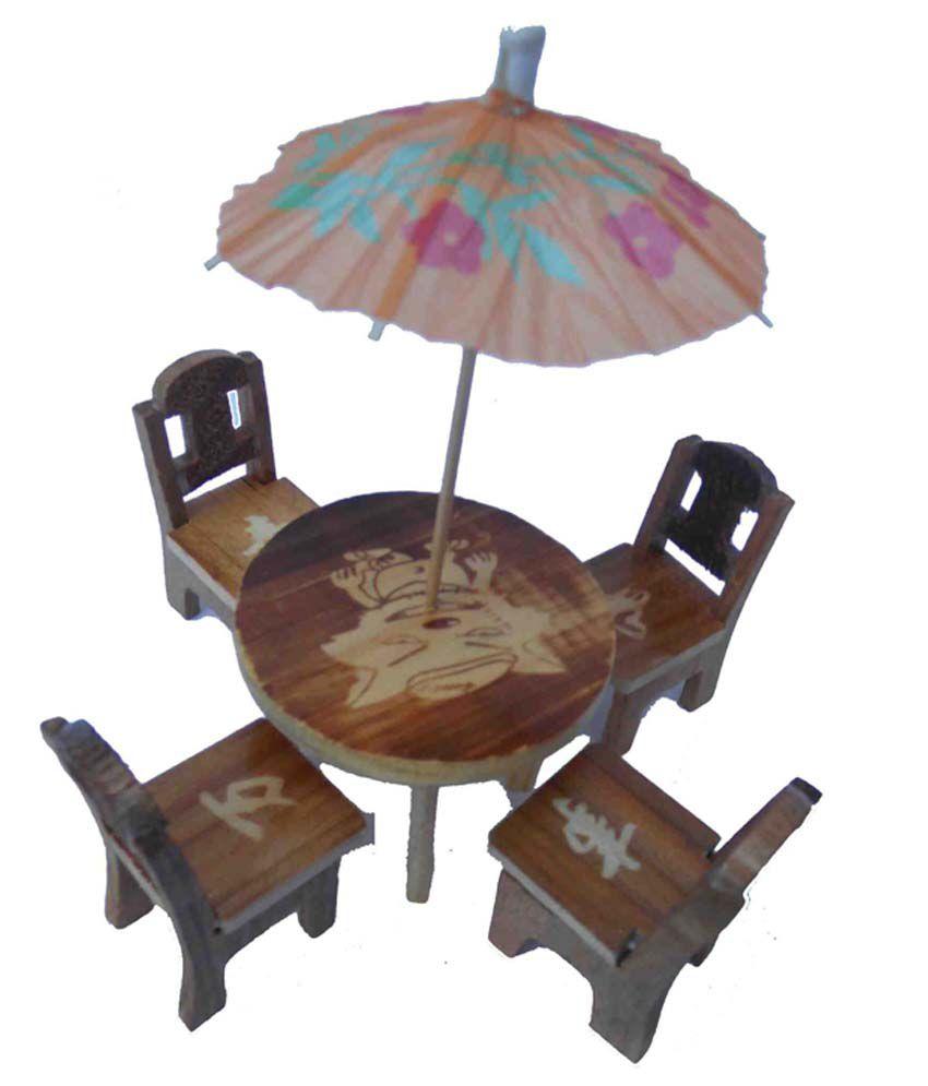 Handicraft Wooden Small Size Chair Table Umbrella Set