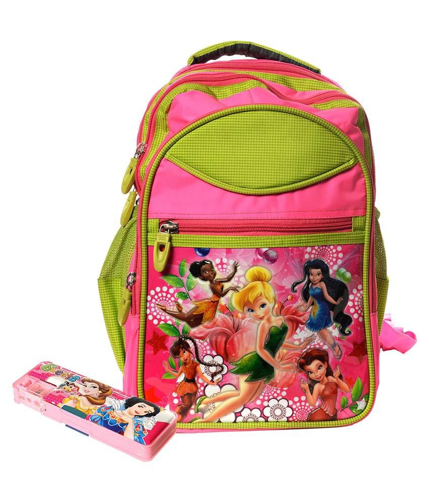 Kkd Plastic Multicolor Cute Angels School Bags With Barbie Insulated Pencil Box Combo