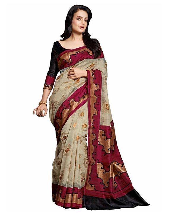 PR Creation Beige Bhagalpuri Silk Saree