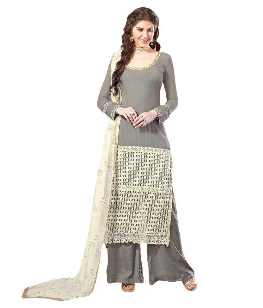 Sundram Feb Grey Georgette Straight Semi Stitched Dress Material
