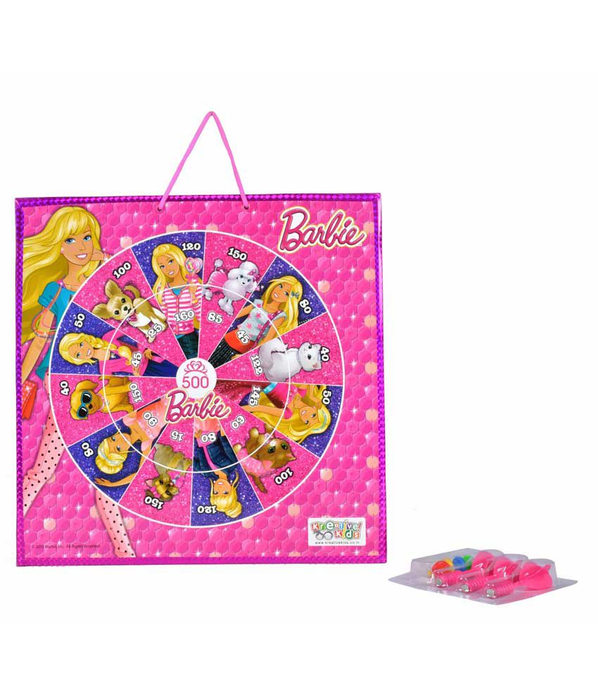 Kreative Kids Barbie Magnetic Dart Board with Snake and Ladders Game