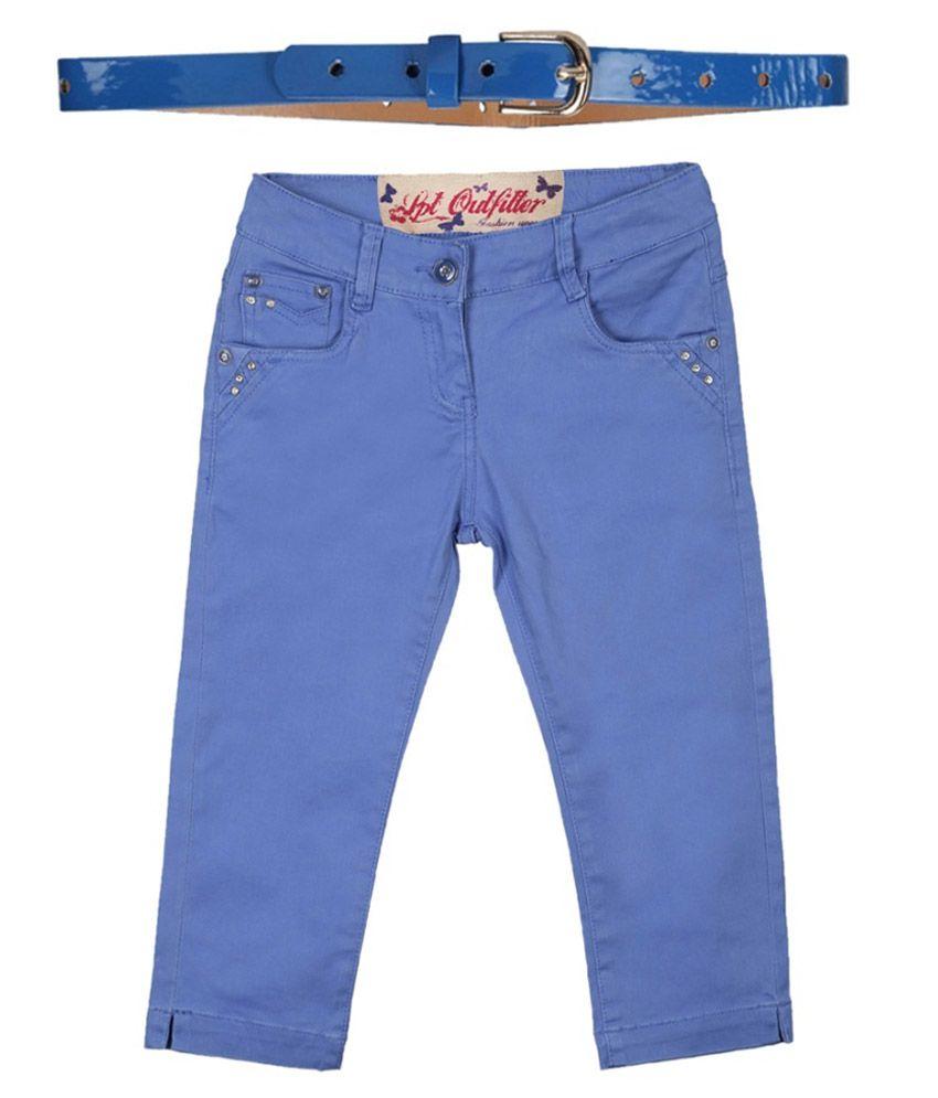 Lilliput Blue Cotton Spandex Capris with Belt