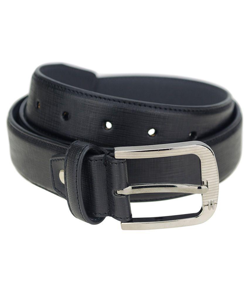 Zeva Black Leather Pin Buckle Single Belt
