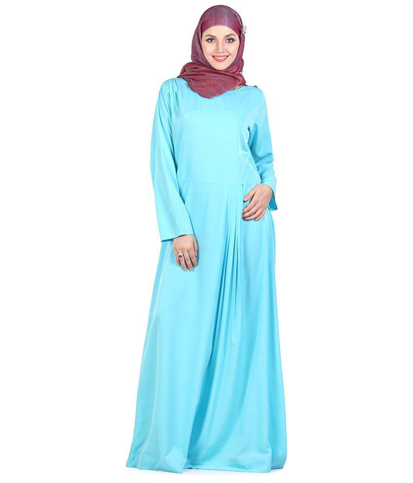 Momin Libas Blue Ploycrepe Stitched Abaya-Burqas without Hijab